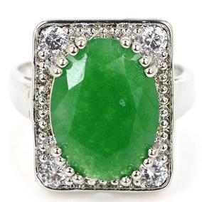Anel Em Prata Com Esmeralda Natural - Promoção