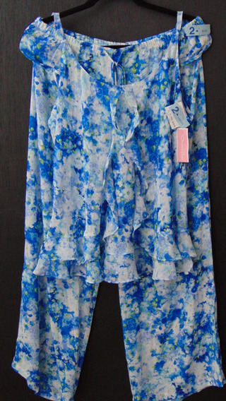 Oscar De La Renta Set Pijama Floral Azul Grande