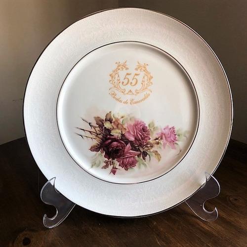 Imagem 1 de 4 de Prato Rosas Bodas De Esmeralda 55 Anos De Casamento