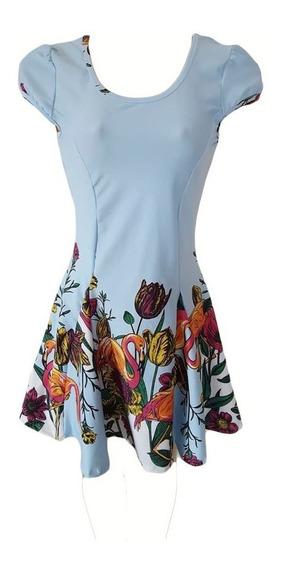 Vestido Acinturado Caimento Perfeito Estampado Em Suplex