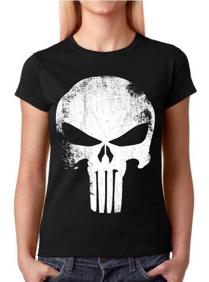Camisa Baby Look Feminina Rock - Justiceiro - 100% Algodão!