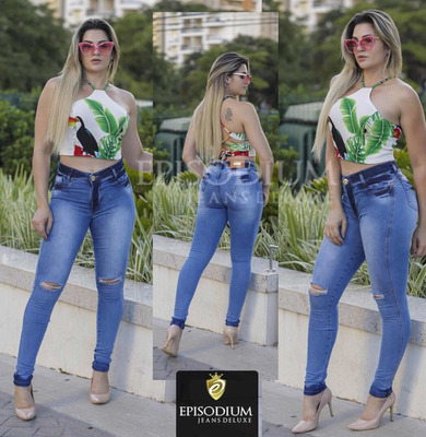Calça Jeans Feminina Cintura Alta C/lycra Levanta Bumbum