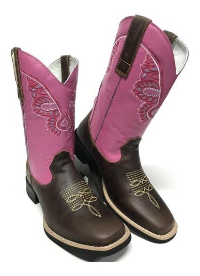 Bota Texana Feminina Country Big Bull Fóssil Rosa Couro