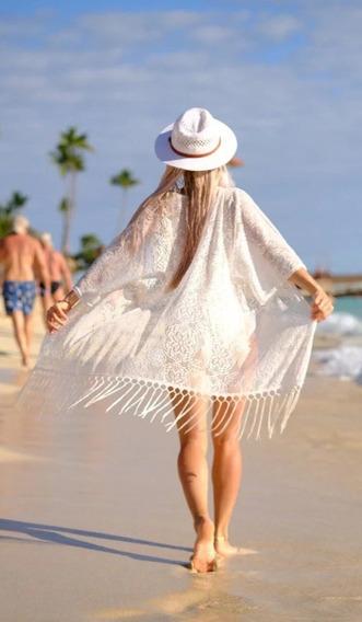Kimono Feminino Cardigan Verão Franjas Saída Praia
