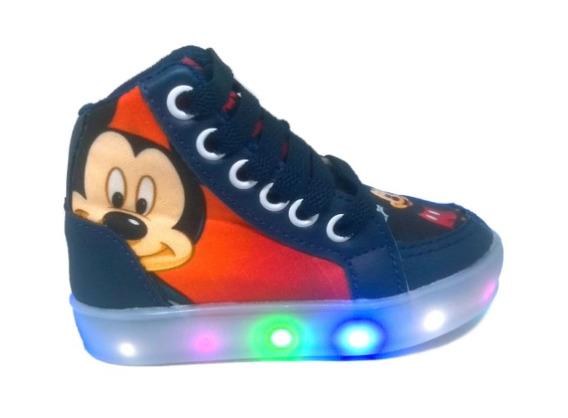 Tênis Bota Mickey Mouse Led Luz Infantil Criança Promoção