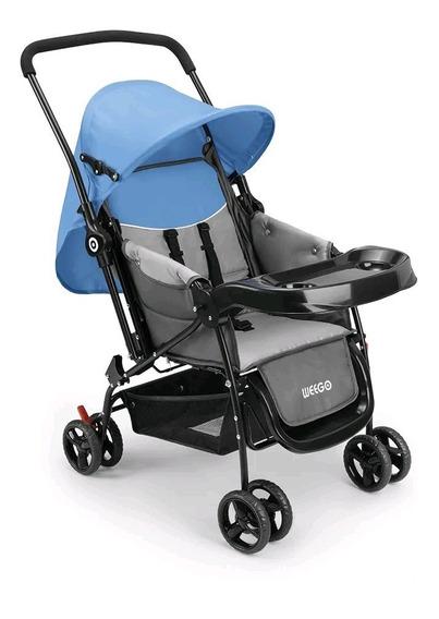 Carrinho De Bebê Berço Com Bandeja Nap Azul/rosa 4012 Weego