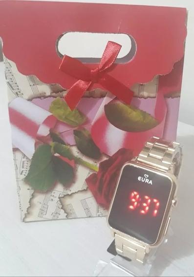 Relógio Digital Quadrado Eura Unissex+ Caixa De Presente