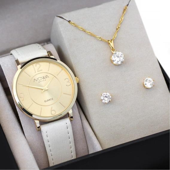 Relógio Nowa Dourado Feminino Couro Nw1411k + Kit Brinde