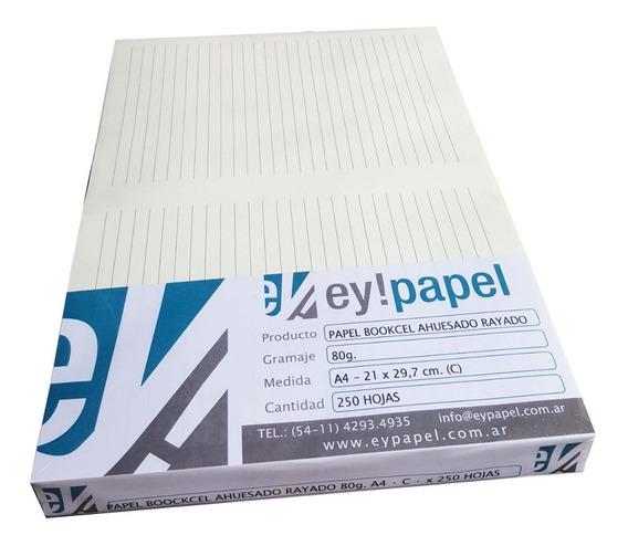 Papel Bookcel Ahuesado Rayado De 80 Grs. A4 X 250 H.