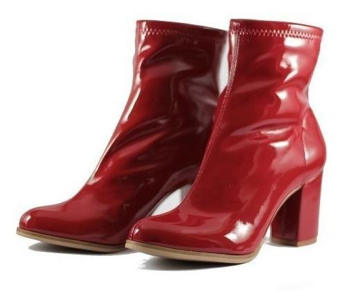 Sapato Bota Feminina Cano Curto Couro Verniz Vermelho Estilo