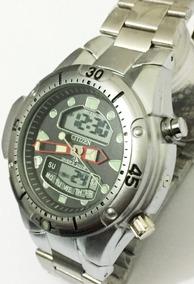 Relógio Atlantis Aqualand Jp1060 Fundo Preto Metal Citizen