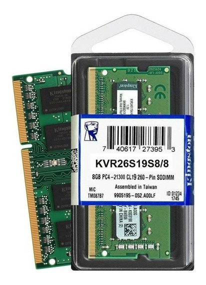 Memoria RAM 8 GB 1x8GB Kingston KVR26S19S8/8