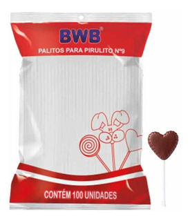 Palito Para Pirulito 9cm Plástico Branco Bwb - 100 Unidades