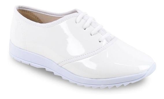 Sapato Feminino Branco Cadarços Verniz Izzaluna Enfermagem