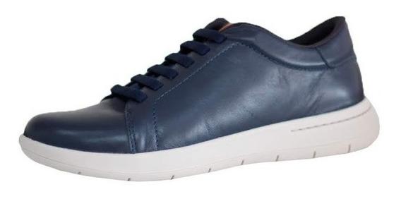 Tênis Masculino Em Couro Cor Azul Usaflex Confortável 9801