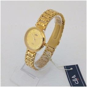 Relógio Feminino Vip Mm277 Dourado Original 12x S/j