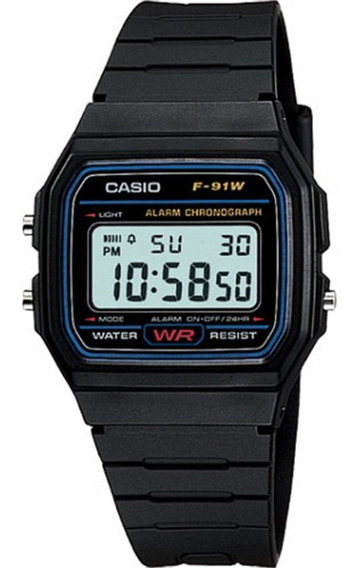 Relógio Cassio Casual A Próva D´agua Com Alarme F91w(usado)