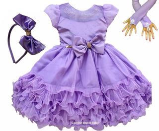 Vestido De Festa Infantil Luxo Princesa Sofia E Luva E Tiara