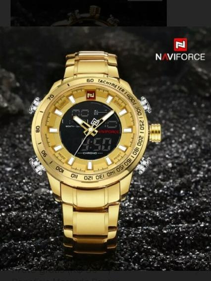 Relógio Masculino Naviforce N9093 Original Dourado
