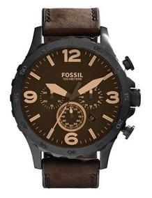 Relógio Fossil Masculino Nate Marrom Couro Jr1487/0mn + Nf-e