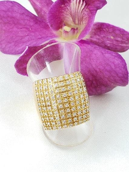 Anel Moderno Pavê Ouro Amarelo Cravejado De Diamantes Extras