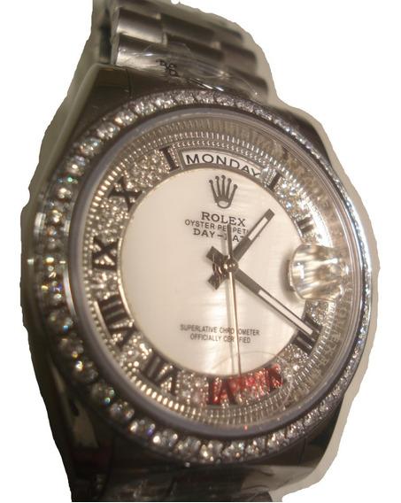 Reloj Nuevo Rolex Day-date Automatic Color Platino Swarovsky