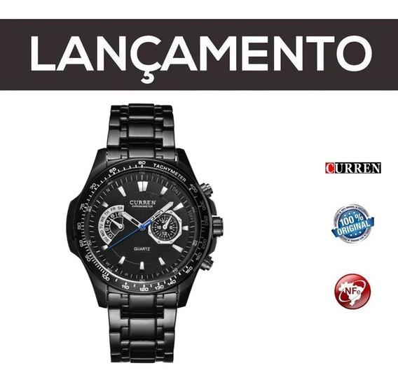 Relógio Masculino Curren Aço Preto Com Nf