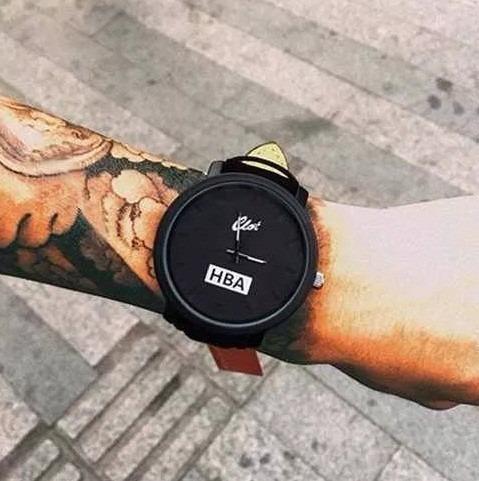 Relógio Masculino Esporte Pulseira Couro Preto Marrom Style