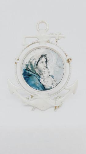 Yh Antiguo Porta Retrato Souvenir Virgen Italy Imagen Vintag