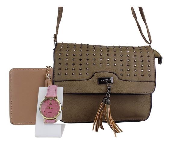 Kit Bolsa Feminina + Relógio Dourado + Carteira Couro Bonita