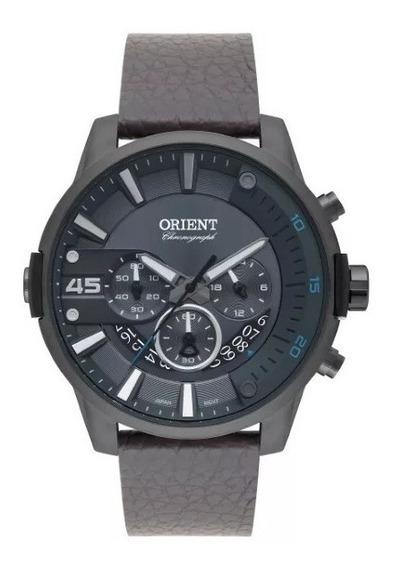 Relógio Orient Masculino Aço Fundo Cinza Pulseira Couro