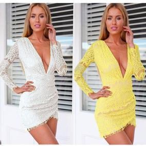 Nuevo Caliente Sexy Mujeres Encaje Vestido Profundo V Con Cu