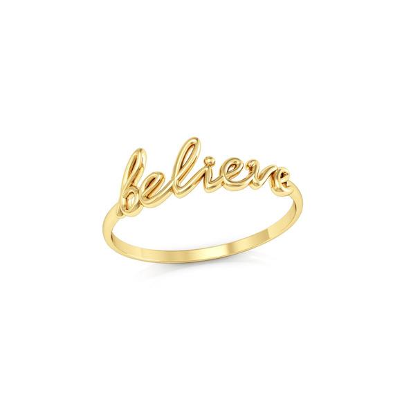Anel Believe Ouro 18k Coleção Inspirações