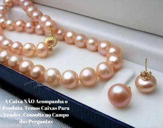 Promoção Colar E Brincos De Pérolas Rosas 8mm Naturais D1016