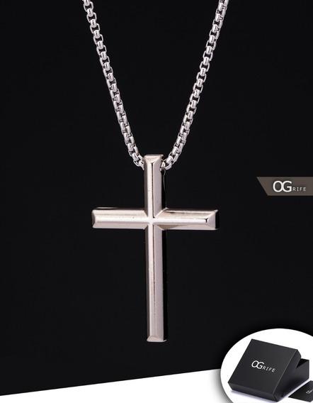 Corrente Cordão + Pingente Crucifixo Aço Inox J-477 Ogrife
