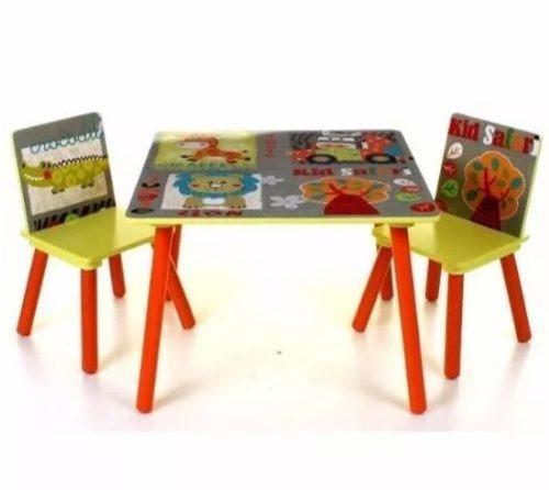 Mesa Infantil Colorida Com 2 Cadeiras Tema Bichos Escolar