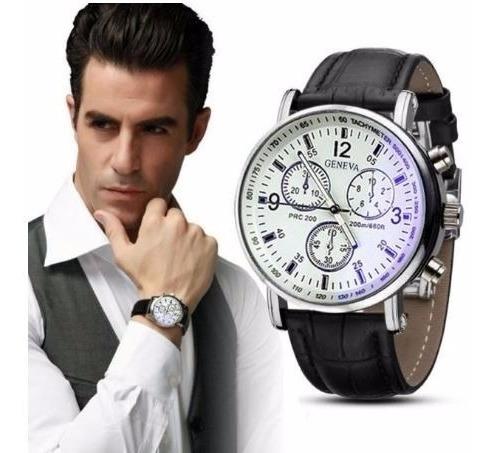 Relógio Masculino Geneva Com Fundo Franco