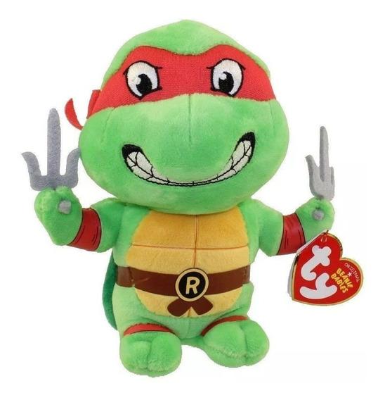 Pelúcia Raphael Ty Beanie Babies 20cm Tartarugas Ninjas