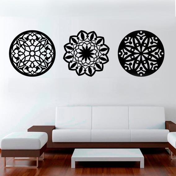 Trio De Quadros Mandala Decorativo De Parede Mdf Crú 30x30