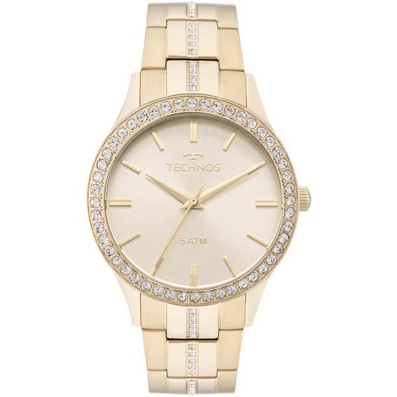 Relógio Technos Dourado Feminino Elegance Crystal 2035mmk/4x
