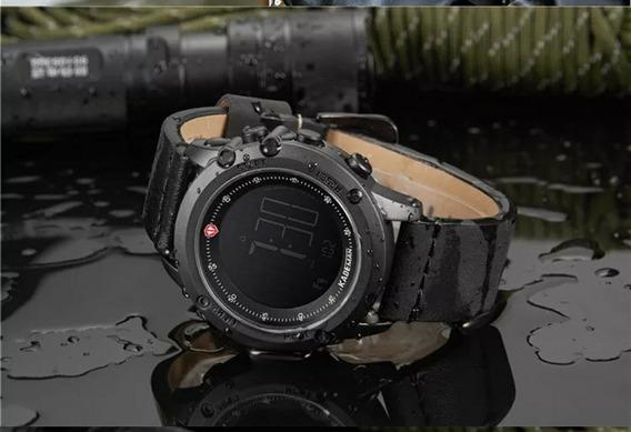 Relógio Masculino Digital De Luxo Pulseira Em Couro