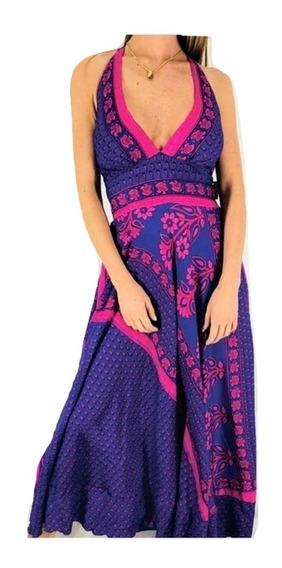 Vestido Largo Seda Hindú Fiesta Importado India Hasta Xl