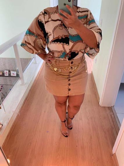 Cropped Blusinha Amarrar Estampa Plus Size Verão Blogueira