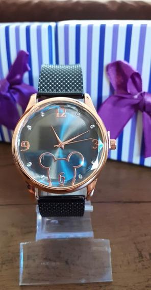 Relógio Feminino Mickey +caixinha De Brinde