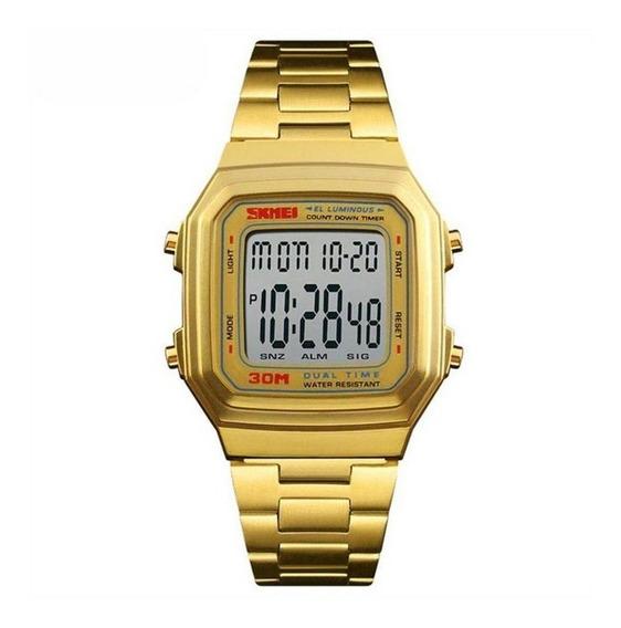 Relógio Unissex Skmei 1337 Dourado C/ Garantia E Nf