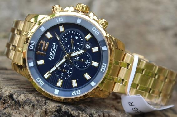 Relógio Masculino Megir 2068 Dourado Original