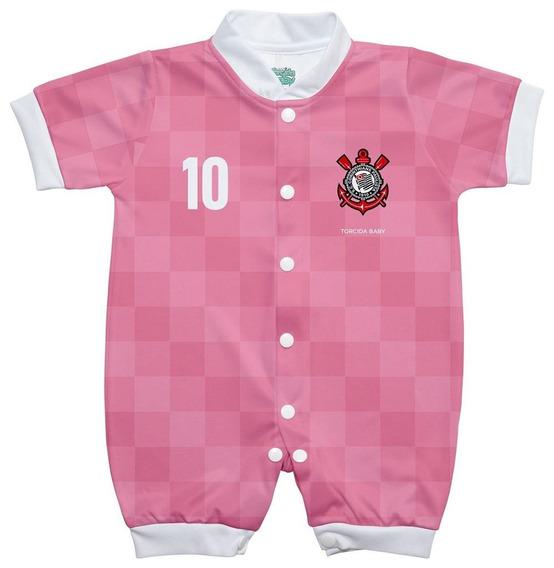 Macacão Bebê Corinthians Rosa Manga Curta Oficial