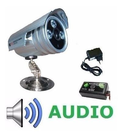 Câmera Ccd Cftv Infravermelho 1500linhas +audio+fonte
