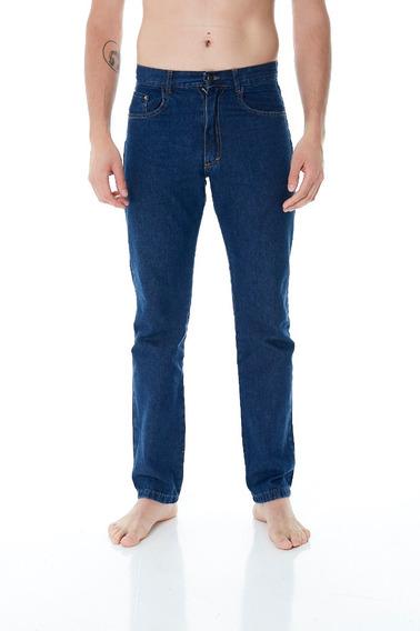 Pantalon Jean Recto Clasico Azul Hombre Talles 38 Al 48