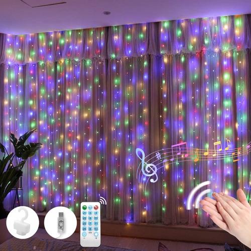 Luces De Cortina De Luces Activadas Por Voz Arco Iris